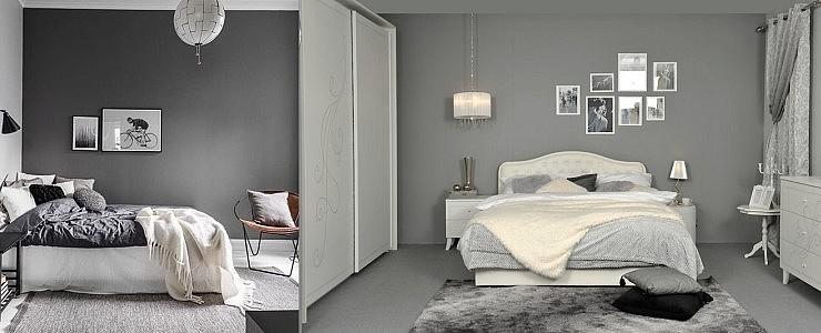 Насыщенный серый фон спальни