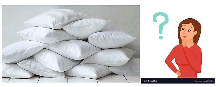 Много подушек с думающей домохозяйкой