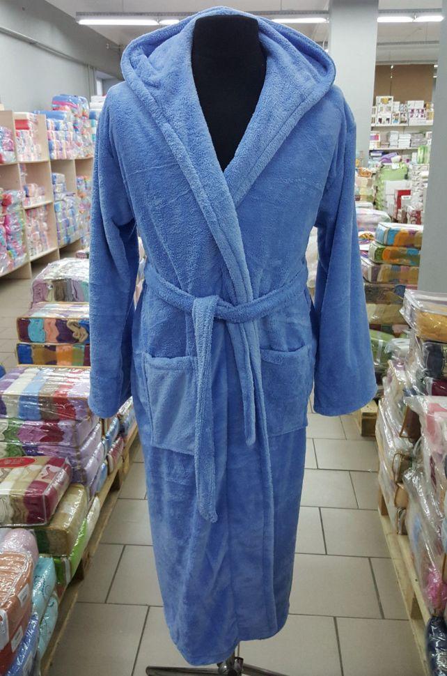 3af5e2e7b495 Халат женский длинный микрофибра голубой S-XL. Купить Халат женский ...